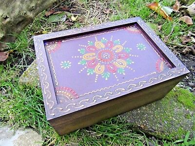 Fair Trade Hand Carved Made Wooden Floral Jewellery Box Chest Case Holder