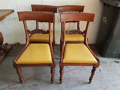 Antique 1800's Set Of 4x Regency William IV Rosewood / Mahogany Dining Chairs