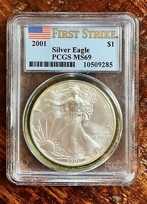 2001 FIRST STRIKE $1 Silver American Eagle PCGS MS69