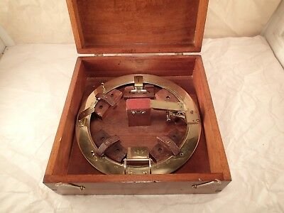 Vtge Brass YOUNG & SONS PHILADELPHIA, 9220 Marine AZIMUTH CIRCLE in Orig. Case