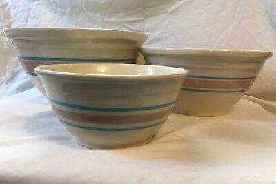 """Mccoy Ovenware Set of 3 bowls 8"""" 10"""" and 12"""" pink and blue stripped"""