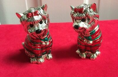 Neiman Marcus Silver Plated Yorkie Terrier Dog Holiday Salt/Pepper Shakers