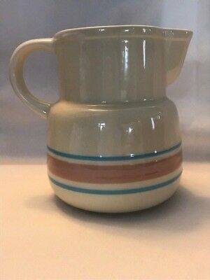 """Mccoy Ovenware Pitcher pink and blue stripped 5 1/2"""" tall"""