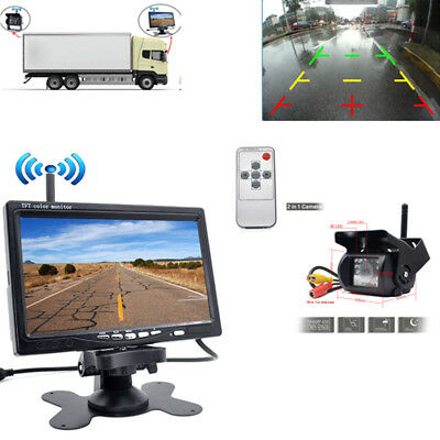 """Wireless IR Rear View Back up Camera Night Vision System 7""""Monitor for RV Bus"""