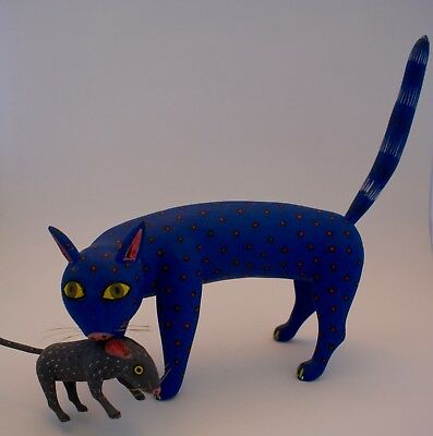 Oaxaca Alebrije - Our other cat also caught a mouse -Mexican Folk Art