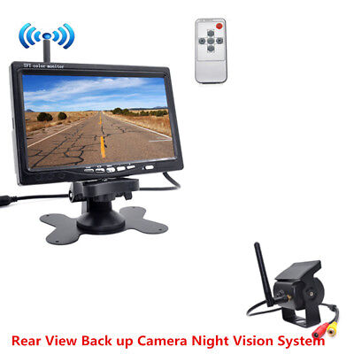 "Wireless Car Rear View Backup Camera Night Vision System+7""Monitor for RV Truck"