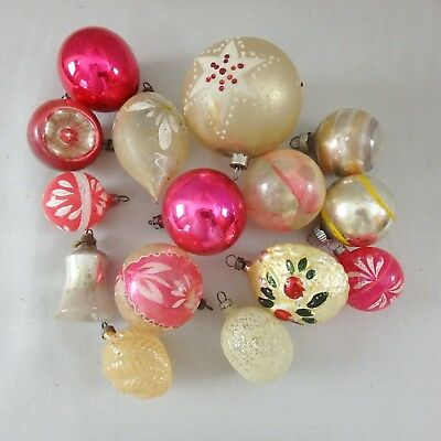 15 Antique Vintage Mercury Glass Christmas Ornaments Bulbs 1 3 8 To 2 3 4
