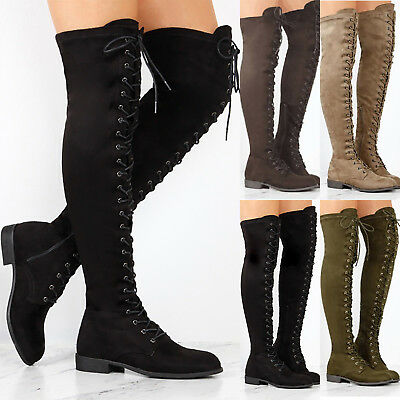 Women's Thigh High Over the Knee Boots Ladies Stretch Lace Up Zipper Flat Shoes