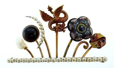 Victorian 14k Yellow Gold Gemstones Micro Mosaic Pearl Brooch