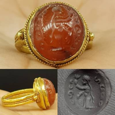 Roman Old agate  Intaglio emperor King Face Solid 18K Gold Signet Ring 7.3  # 5G