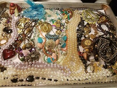 Huge Lot Of Vtg To Now Estate Find Junk Jewelry Lbs-Craft Repair Wear Parts #307