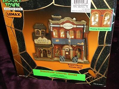 Lemax Spooky Town Porcelain Lighted House Dragon's Breath Costume Shop Halloween