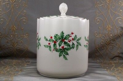 LENOX Holiday CANISTER Cookie Jar Porcelain HOLLY & GOLD