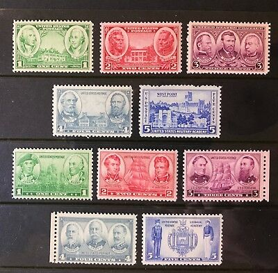 SC #785 - 794 - Army & Navy Issue Set of 10 Singles MNH, Free Shipping