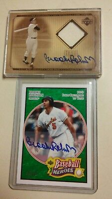 Brooks Robinson Lot Of 2 Autos 2005 Ud Heroes 30/99 & 2001 Ud Auto Jersey