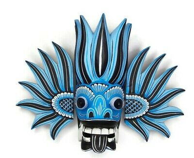 Asian Hand Carved Wood Wall Home Decor Colorful Blue Fire Tiki Mask Sculpture 8""