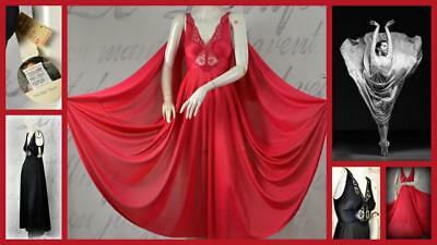 lot of 2 OLGA vintage nightgowns lingerie new nwt black red full size s and p