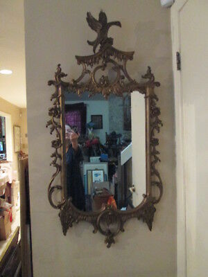 Antique Large Ornate French Style Gilt Carved  Mirror w/ Eagle OUTSTANDING