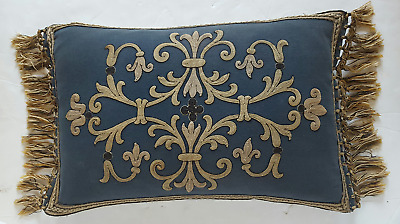 Antique Abusson Lumbar Pillow French Embroidered Pillow 24x15