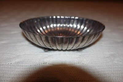 Vtg Wallace Scalloped Silver Plate Footed Jewelry Oval Bon Bon Candy Dish Mint