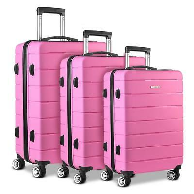 Pink 3pc Luggage Suitcase Set TSA Travel Carry Bag Hard Case Lightweight