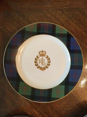 Ralph Lauren Crest Green Blue Tartan Plaid  Rim Knockhill Luncheon Plate 9 1/4""