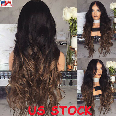 28'' Womens Long Wavy Curly Blonde Brown Ombre Hair Wigs Ladies Party Dress US