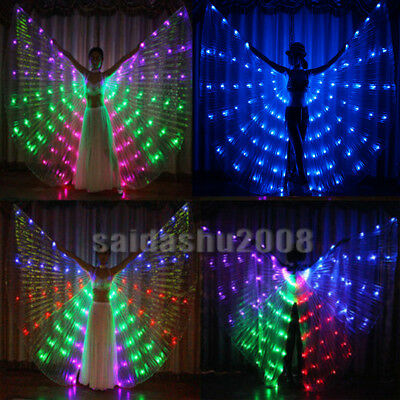 USA! colour LED isis wings belly dance light up show cosplay prop sticks