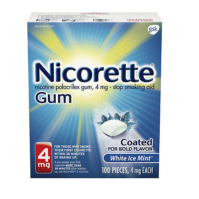 Nicorette 4mg White Ice Mint Gum 100 pieces NEW FACTORY SEALED