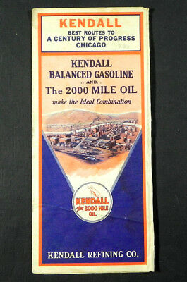 vintage  KENDALL GAS OIL MAP BEST ROUTES to 1933 CENTURY PROGRESS Chicago W Fair