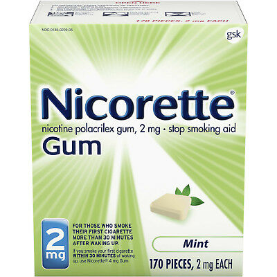 Nicorette Gum 2mg Mint 170 Count Uncoated New in Box Sealed