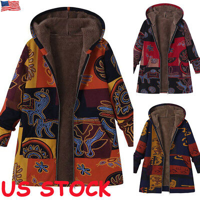Ladies Hooded Parka Fleece Tops Winter Warm Womens Long Jacket Coat Plus Size US