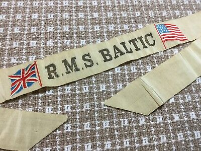 Embroidered R.M.S. Baltic Souvenir Ribbon - U.S. And British Flags