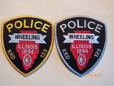 Wheeling (IL) Police Department Patches - Set of 2     ***NEW***