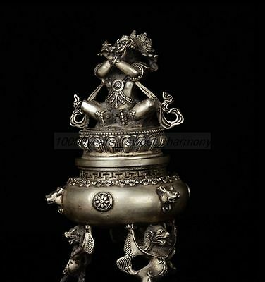 Chinese Tibet Silver Copper Dragon&tibet God Feng Shui Ornaments Incense Burner