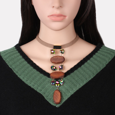Vintage Ethnic Wood Wooden Beaded Necklace Pendant Handmade Jewelry Bohemian