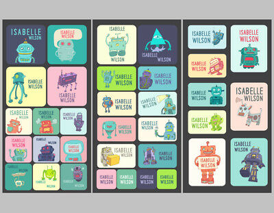 Robots Series Personalised Name Label for Kids, dishwashable, microwaveable