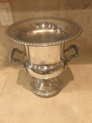 Antique Vintage Silver plate Champagne Ice Bucket Urn Trophy Loving Cup 10""