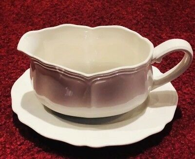 Vintage Federalist Ironstone Harmony House by Sears #4328 Gravy Boat UnderPlate