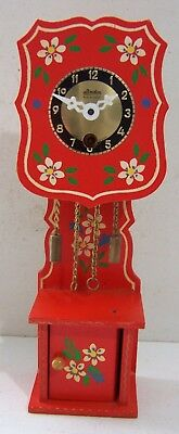 """Vintage W. German Mini 8"""" Wooden Grandfather Style Clock~Key Wind -Hand Painted"""