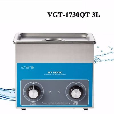 220V Stainless Steel 3L Liter Industry Heated Ultrasonic Cleaner Heater + Timer