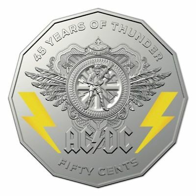 AC/DC 2018 50c Coloured Uncirculated Coin in Card -45 Years of Thunder
