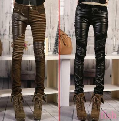 Motorcycle Jeans Leather Pants Skinny Trousers New Women's Denim Stitching 30