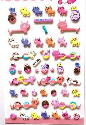Happy Animal Cat Vinyl Sticker Calico Kitty Kitten Sweets Donut Scrapbook JAPAN