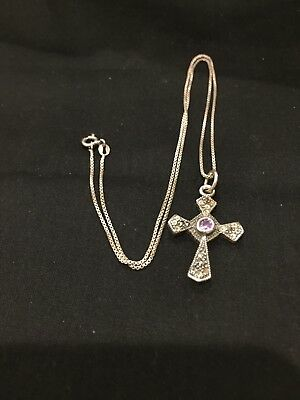Vintage Beautiful Sterling Silver Cross And Chain With Amythest Stone.