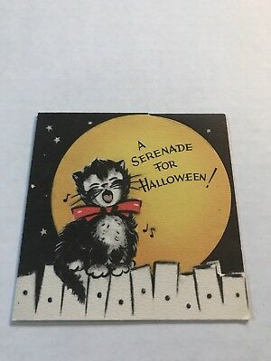 Halloween Vintage Kittens Cats Serenading Moon Greeting Card Gibson New