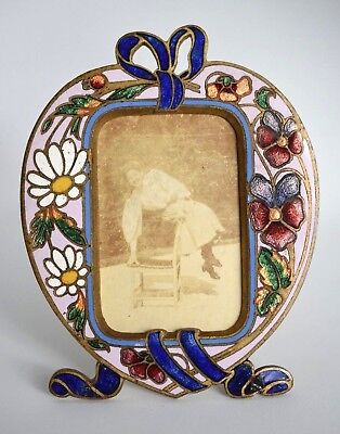 Antique Purple Pansy Art Nouveau Heart Champleve Enamel Bronze Picture Frame