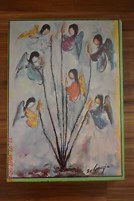 """Vintage 1979 DeGrazia """"Angels and Ocotillos"""" Jigsaw Puzzle"""