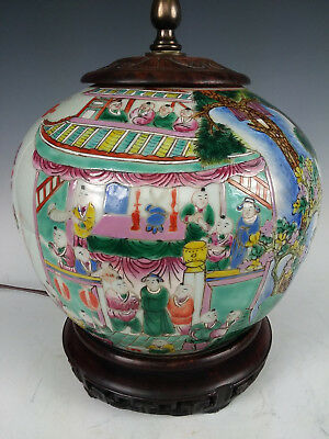 Old Chinese Porcelain Enameled Famille Verte Rose Vase Lamp Children