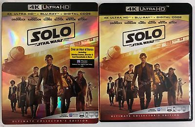 Disney Solo A Star Wars Story 4K Ultra Hd Blu Ray 3 Disc Set + Slipcover Sleeve